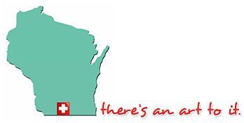 State Wisconsin with Swiss Cross